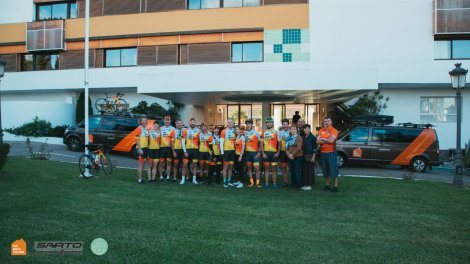 Private Group of cyclists at the Parador Hotel in Nerja Andalusia Spain | HC Bike Tours