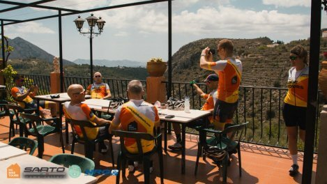 Nerja Tri camp coffee stop by HC Bike Tours
