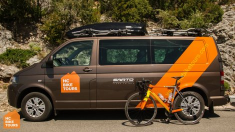 HC Bike Tours cycling support van and Sarto rental bike for Mallorca cycling camp