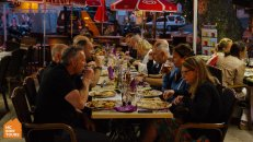 Dinner in Italy with a group from Manchester after a long bike ride | HC Bike Tours