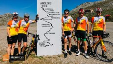 HC Bike Tours guests at the top of the L`Angliru in Asturias Spain called the most difficult Grand Tours climb
