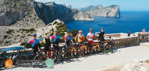 Rent Sarto bikes in Mallorca or hire Private Ride Guide with HC Bike Tours / Cap Formentor in the background