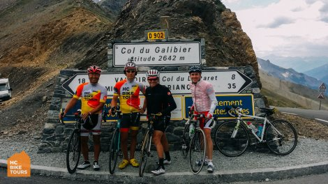 At the summit of the Col du Galibier with HC Bike Tours guests on the Tour de France 2015 bike trip